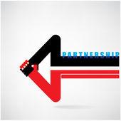 Creative arrow sign and handshake abstract design symbol. Busine — Stock Vector