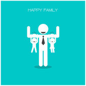 Happy family having fun,daughter and son hang on daddy 's arms,f — Stock Vector