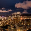 Brilliant night scene of Hong Kong with Victoria Harbour — Stock Photo