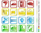 Hotel & Resort Icons - Four Colors (Vector) — Vector de stock