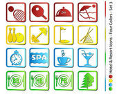 Hotel & Resort Icons - Four Colors (Vector)   — Stok Vektör