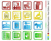 Hotel & Resort Icons - Four Colors (Vector) — Stockvektor