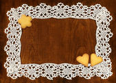 Crochet frame and cookies — Stockfoto