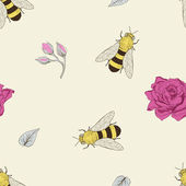 Bee and rose seamless pattern — Stock vektor
