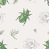 Rose chafer seamless pattern — ストックベクタ