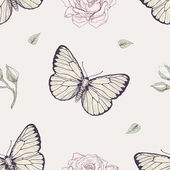 Butterfly and rose seamless pattern — Stock Vector