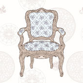 Vintage chair and radial pattern — Stockvektor