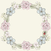 Floral frame vintage engraving style — Stock Vector