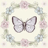 Floral frame and butterfly engraving style — Stock Vector