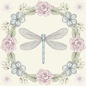 Floral frame and dragonfly engraving style — Stock Vector