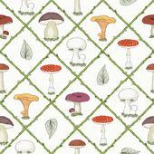Hand drawn mushrooms seamless pattern — Stock Vector