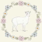 Floral frame and goat Vintage engraving style — Stock Vector