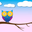 ストックベクタ: Owl on tree illustration