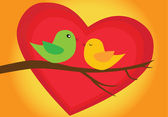 Romantic birds couple — Vettoriale Stock