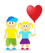 Valentine couple with balloon — Vector de stock