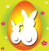 Huevo de pascua con conejos — Vector de stock