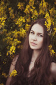 Portrait of beautiful young brunette woman standing near the tr — Stock Photo