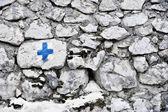 Blue Cross Marking — Stock Photo
