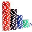 Stock Photo: Colorful poker chips isolated on white