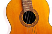 Detail with used acoustic guitar — Stock Photo