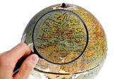 Magnified Europe on old rotating globe — Stock Photo