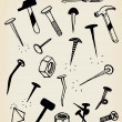 Doodle Nails, Bolts, Hammers And Tool Icons — Stock Photo