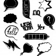 Doodled Speech Bubbles Set — Stok Vektör