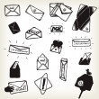 Doodle Email Icons And Envelopes Set — Stok Vektör