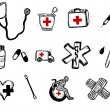 Healthcare And Medicine Doodle Icons Elements — Stock Vector