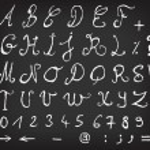 Hand Drawn Alphabet On School Chalkboard — Stock Vector