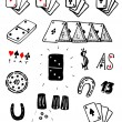 Hand Drawn Gambling Cards And Luck Set — Stock Vector