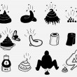 Stock Vector: Shit And Dung Icons Set