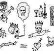 Doodle Skulls, Death, Addiction And Tattoo Elements — Stock Vector