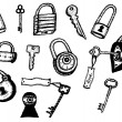 Padlock And Keys Security Icons Set — Stock Vector