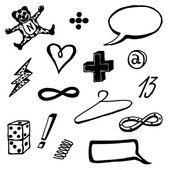 Doodle tal bubblor, ikoner och objekt som — Stockvektor
