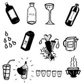 Doodle Bottles, Drinks And Glasses — Stock Vector