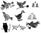 Doodle Birds Set — Stock Vector