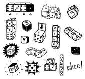Hand Drawn Casino Dice Gambling Set — Stock Vector