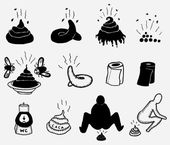 Shit And Dung Icons Set — Stock Vector