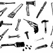 Doodle Hand Work Tool Equipment Icons — Stock Vector