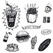 Fast Food And Burger Restaurant Icons — Stock Vector