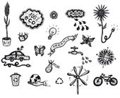 Hand Drawn Bio And Ecology Icons — Stock Vector