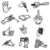 Doodle Hands In Action Icons — Stock Vector