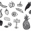 Doodle Set Of Fruits — Stock Vector
