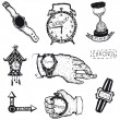 Stock Vector: Doodled time, watch and Clock Set