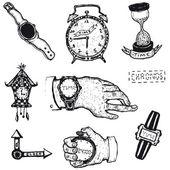 Doodled czas, oglądać i zegar zestaw — Wektor stockowy