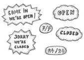 Set di icone segni aperti e chiusi — Vettoriale Stock