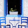 Blue cafe in Greece — Stock Photo