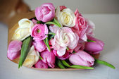 Bouquet of Ranunculus, tulip, roses — Stock Photo