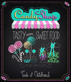 Candy Shop. Menu on the chalkboard — Stock Vector